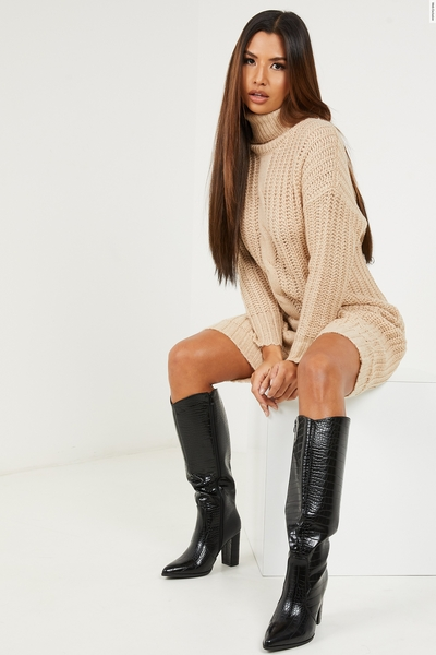 Stone Chunky Knitted Jumper Dress